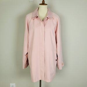 London Fog Pink Midi Double Collar Trench Coat L